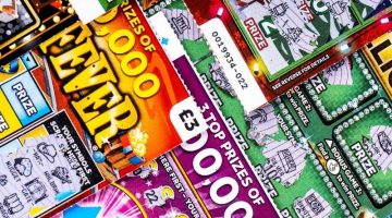 close up pile of scratchcards