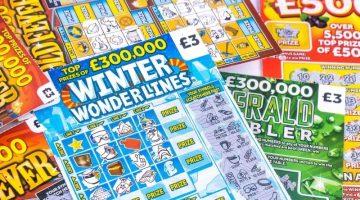 winter wonderlines pile of scratchcards