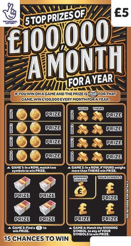 £100,000 a month for a year scratchcard