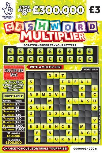 cashword multiplier yellow scratchcard
