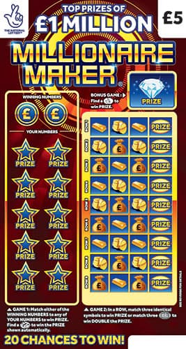 millionaire maker national lottery scratchcard