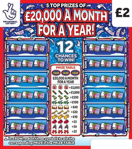 £20,000 a month for a year christmas scratchcard
